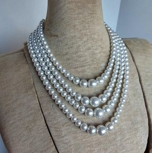 Vintage Laguna faux pearl four strand necklace